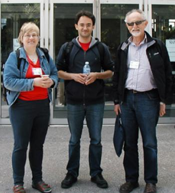 At 2012 SIAM Conference on Discrete Mathmeatics in Halifax,  Nova Scotia, from left to right: Karen Collins, Chair of SIAM Activity Group on Discrete Mathematics (SIAG/DM); Zeev Dvir,  2012 Denes Konig Prize winner; Pavol Hell, 2012 SIAM Fellow.
